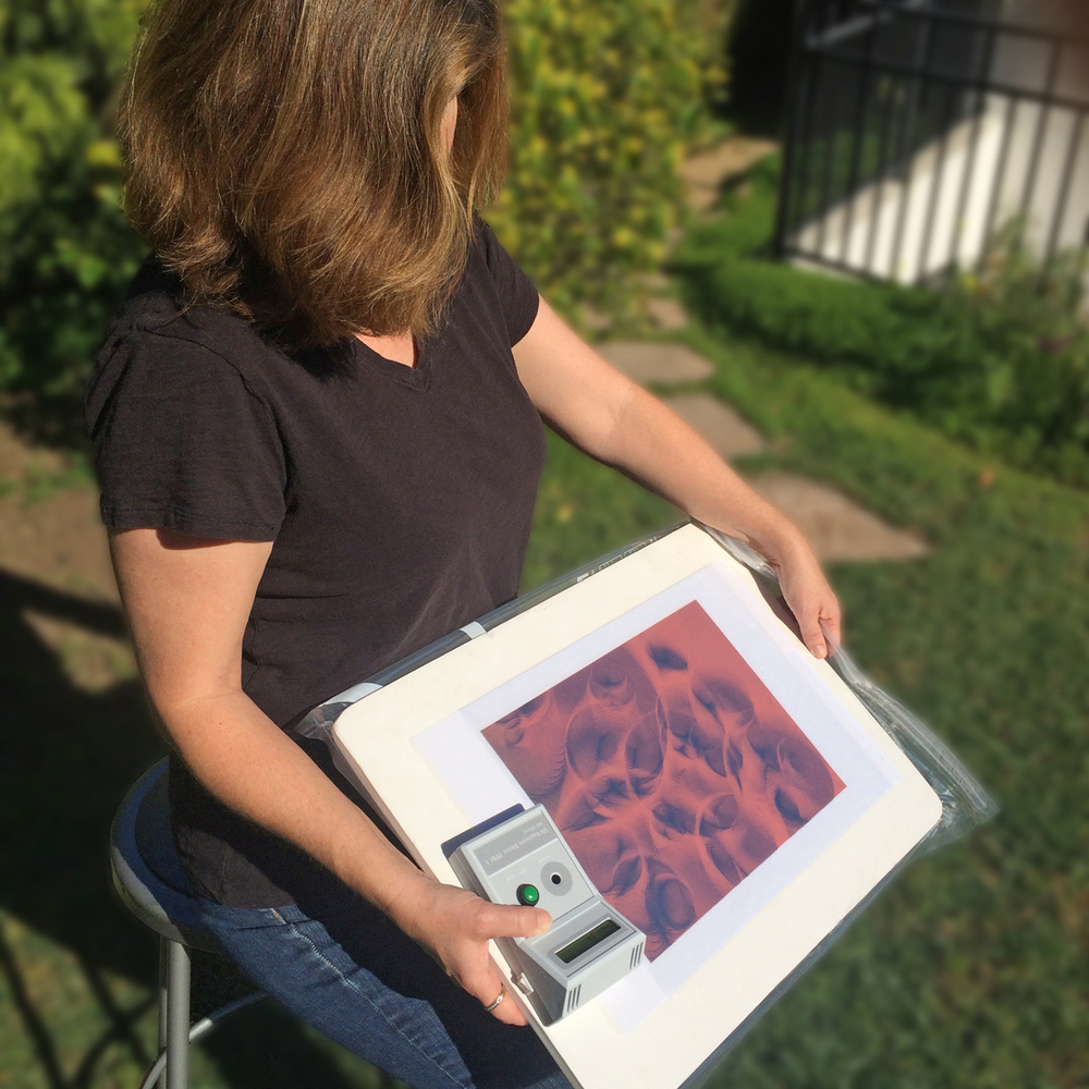 Using the PPM-1 to accurately expose a photopolymer plate using the sun. The meter is easily handheld during exposures and the angled display makes for easy viewing of the exposure information.
