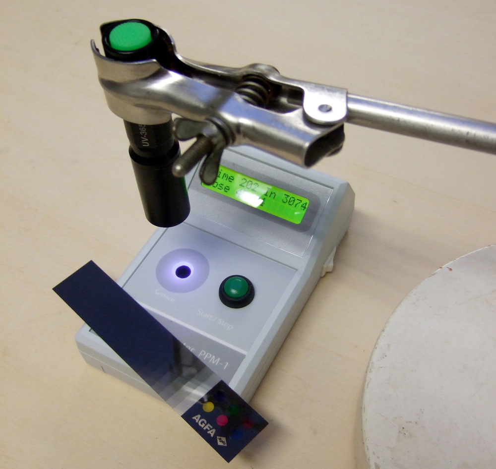 PPM-1 used as a UV densitometer for negatives,with a 365nm LED source - courtesy of Kees Brandenburg, Netherlands