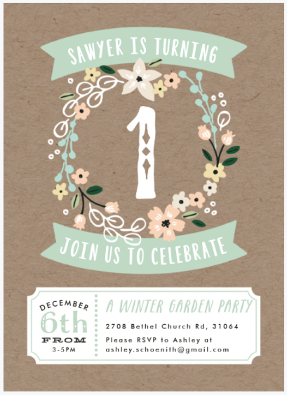 1st birthday invitation floral