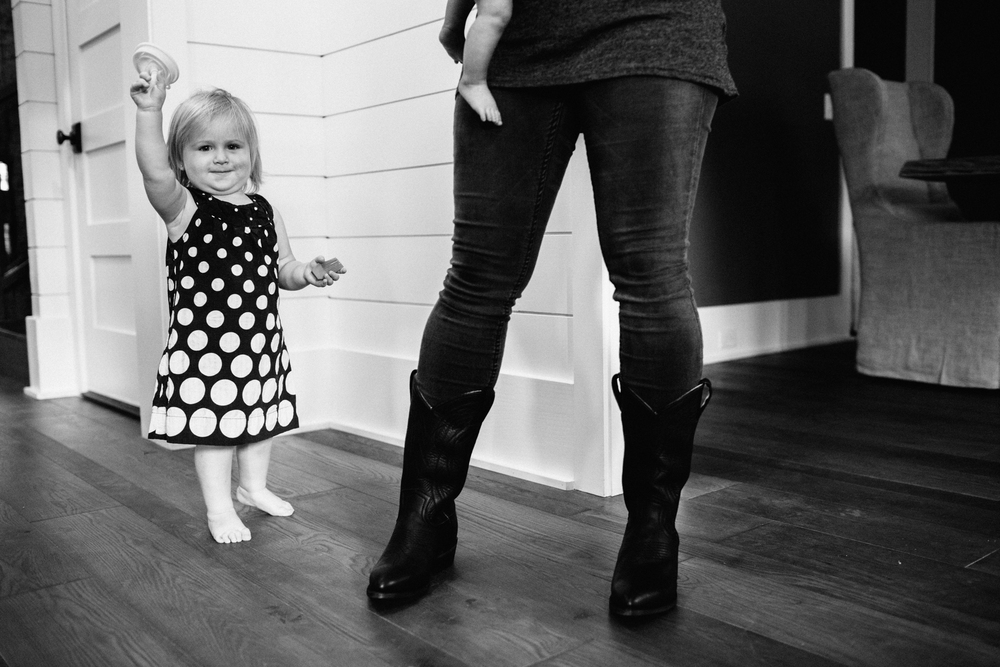 {Thanks to Caroline for capturing a little behind the scenes that day. These boots chase my littles around the studio daily so this is a pretty accurate look!}