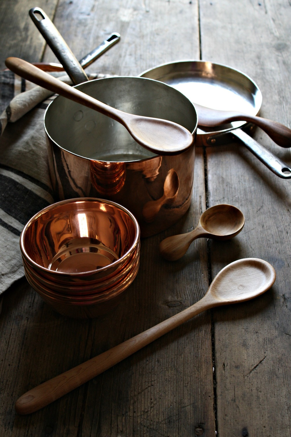 vintage copper pans