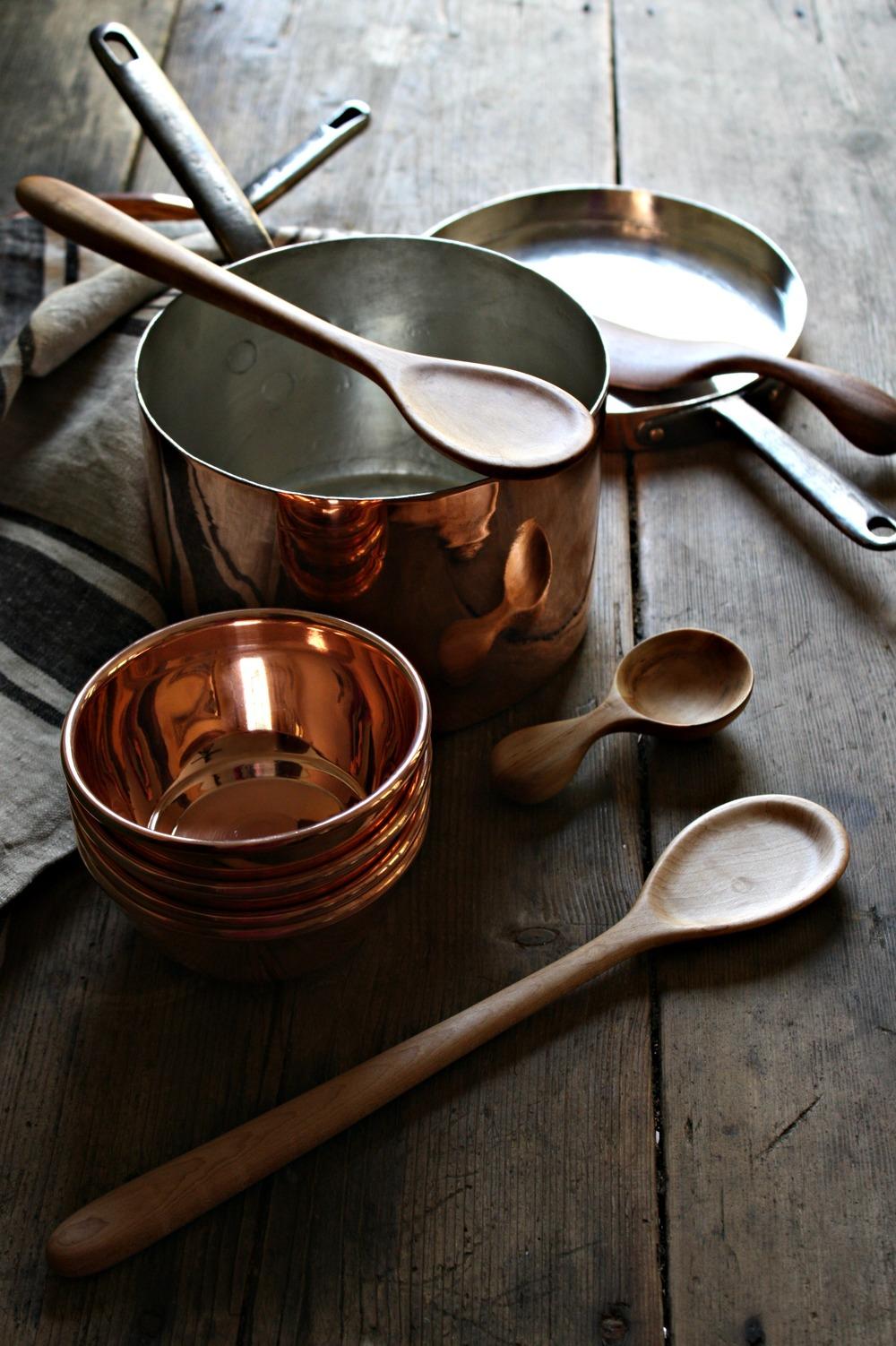 vintage copper pans