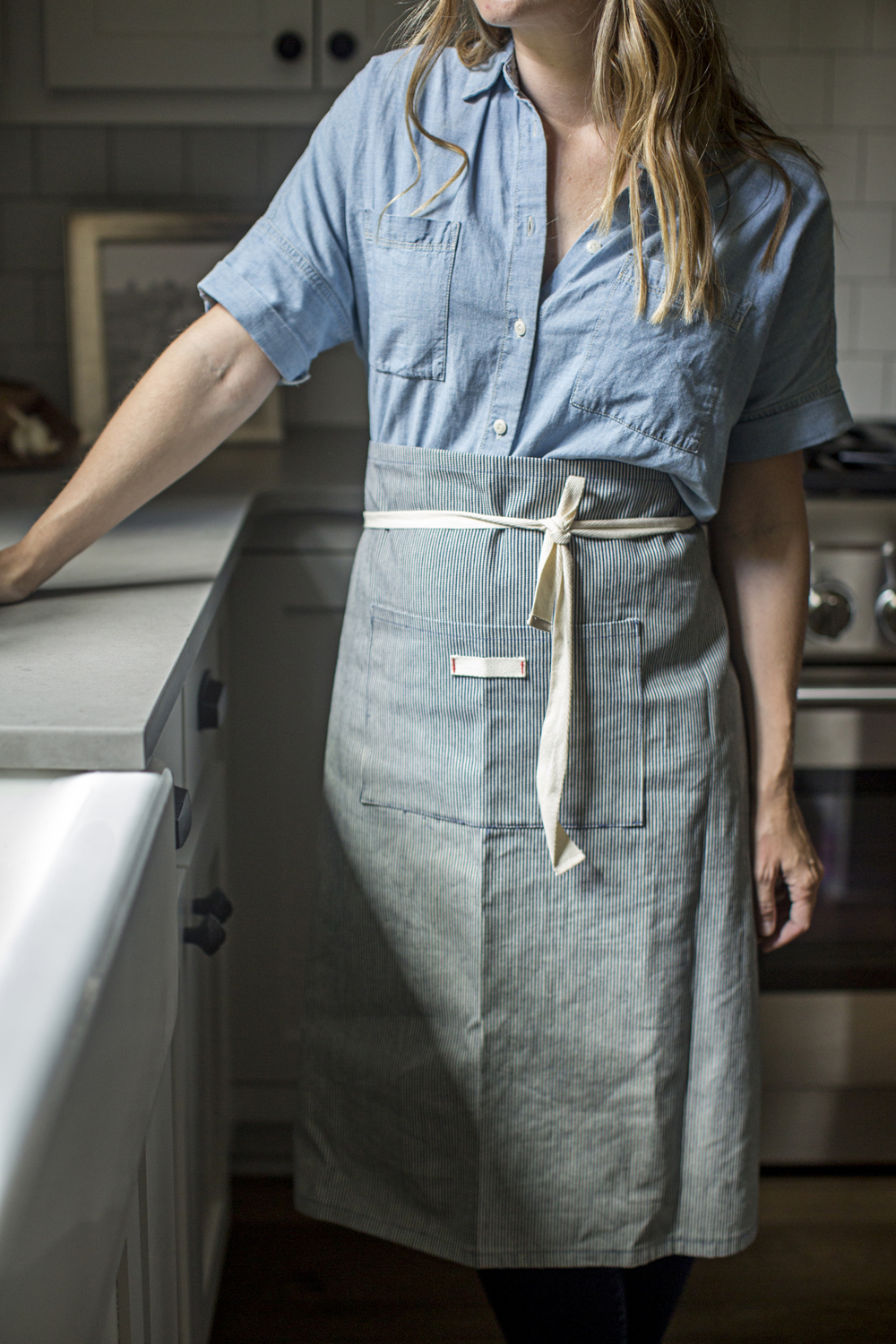 chambray shirt madewell striped apron