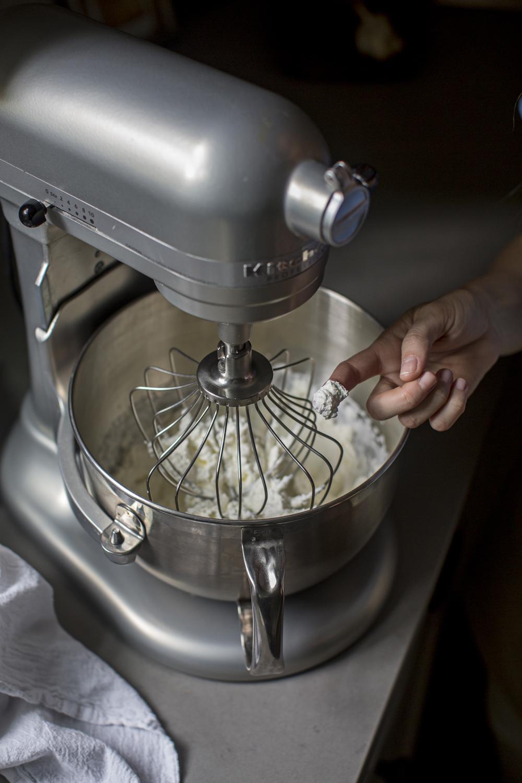 KitchenAid mixer with ingredients