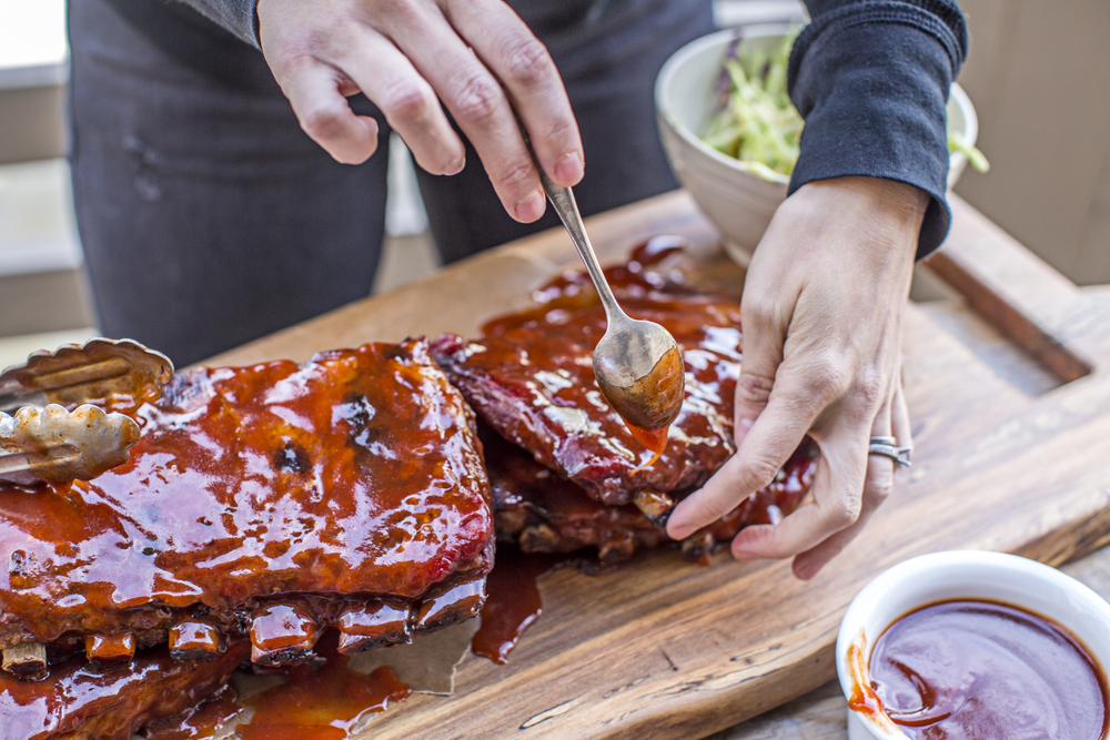 Ribs with barbeque sauce