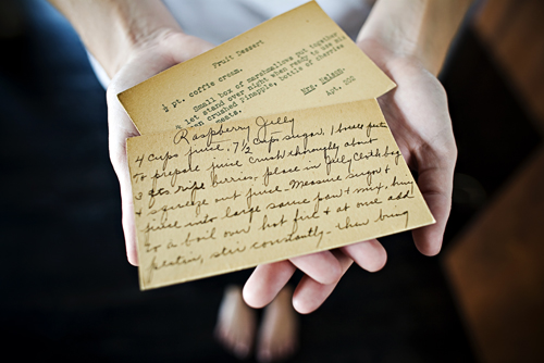 handwritten recipe cards