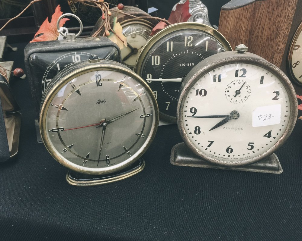 vintage collection of clocks