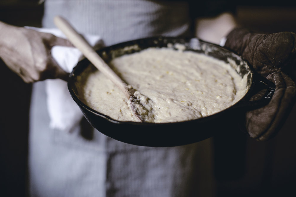 grits in cast iron skillet