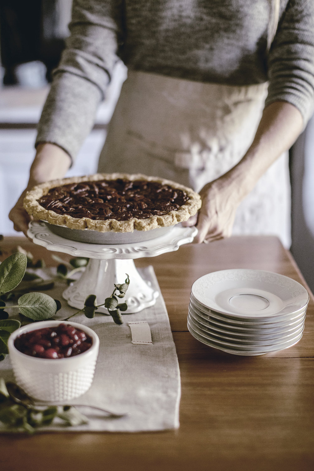 Thanksgiving Pecan Pie on Stand