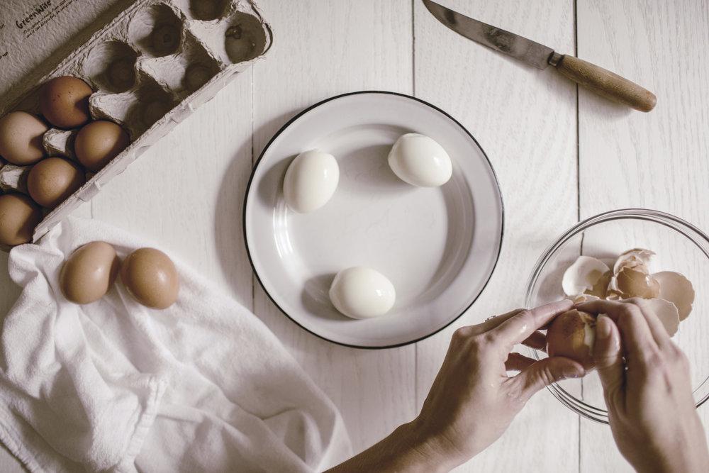 peeling eggs for Easter / heirloomed