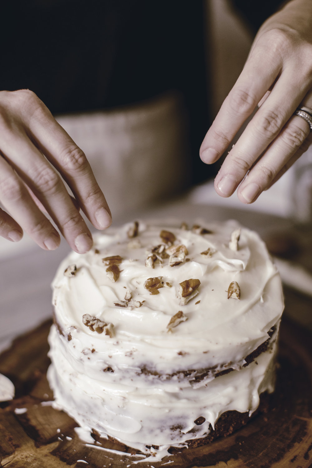 chopped pecan topping classic carrot cake recipe / heirloomed
