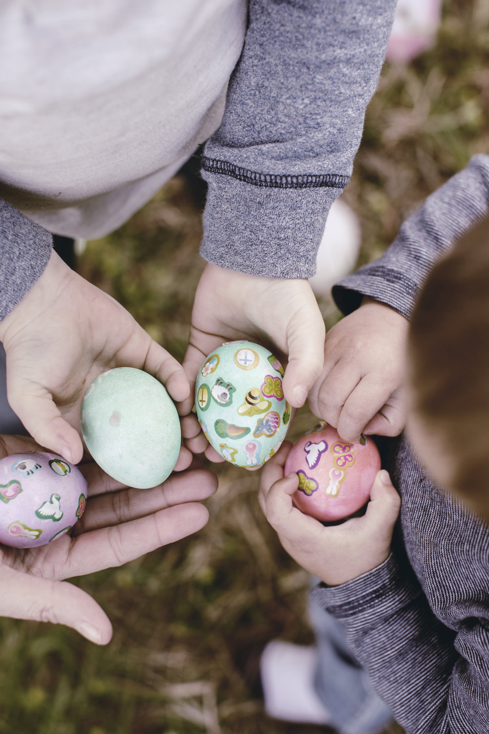 children handful of easter eggs / heirloomed