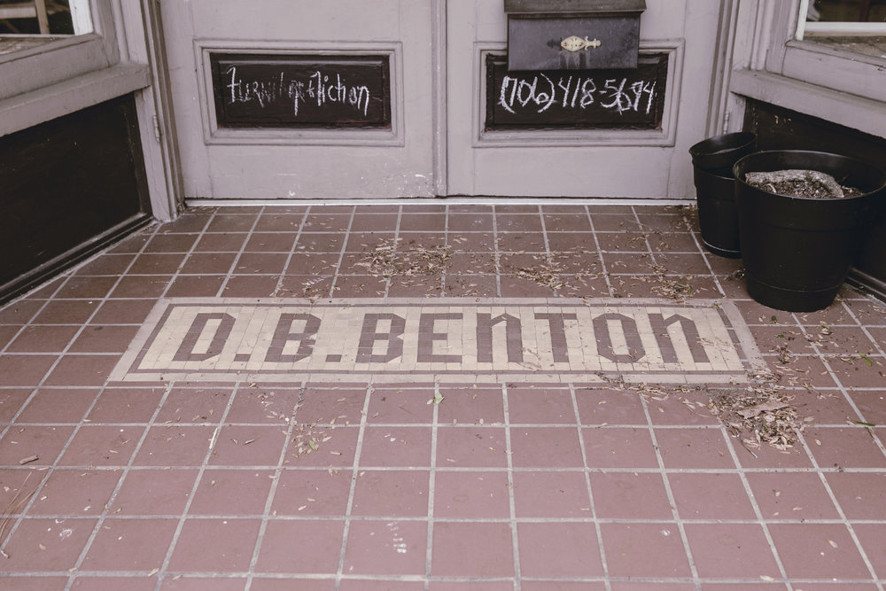 D B Benton floor mosaic Monticello GA town square / heirloomed