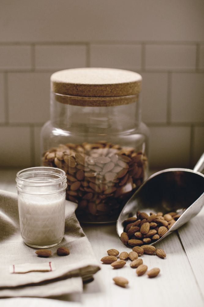 how to make homemade almond milk /made from scratch series / heirloomed