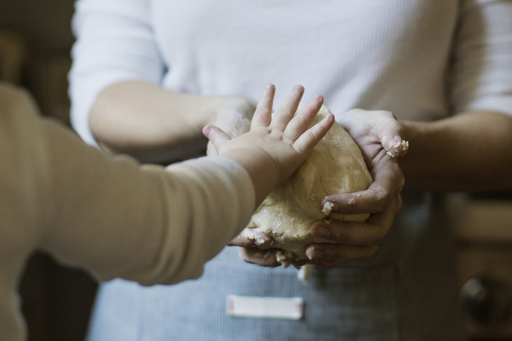 Mom + Daughter hand on dough / heirloomed