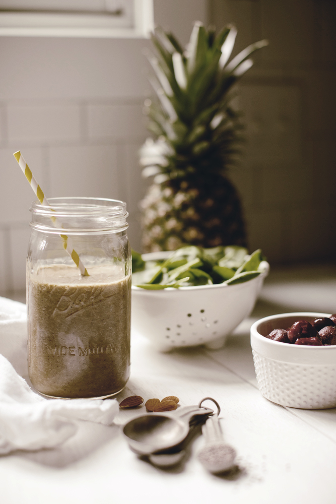 chocolate protein smoothie with spinach and cherries / heirloomed