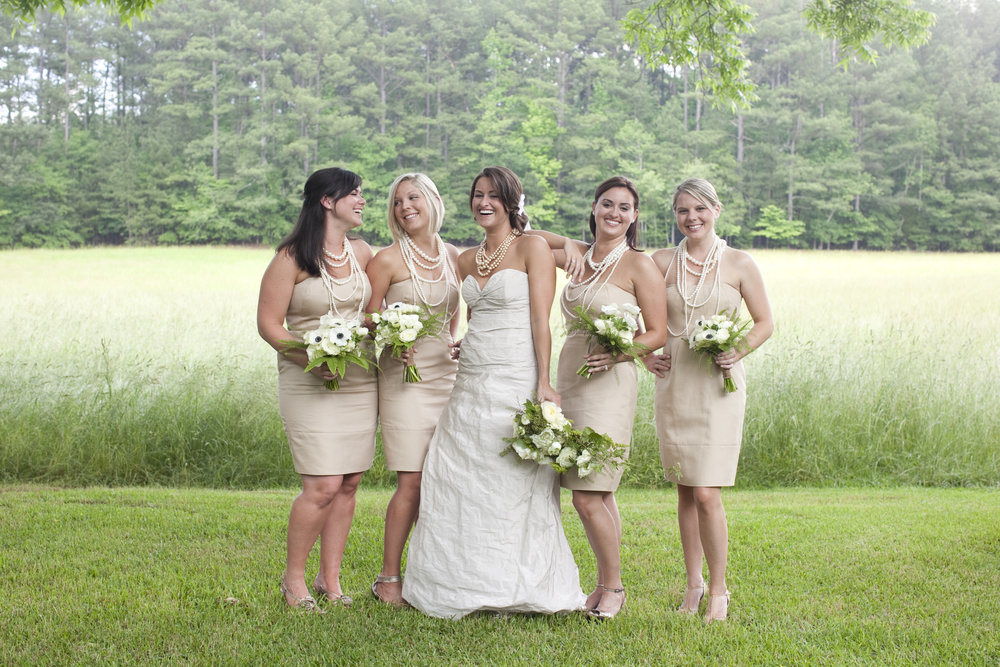 bridesmaids / outdoor wedding / heirloomed