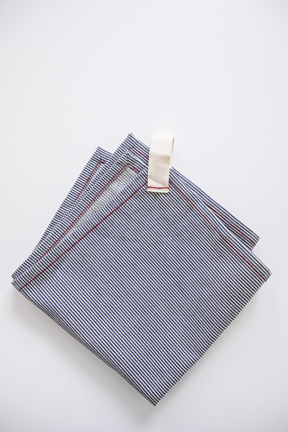 railroad stripe napkin with loop tab detail / heirloomed