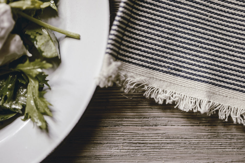 detail of selvedge edge railroad stripe tea towel / heirloomed