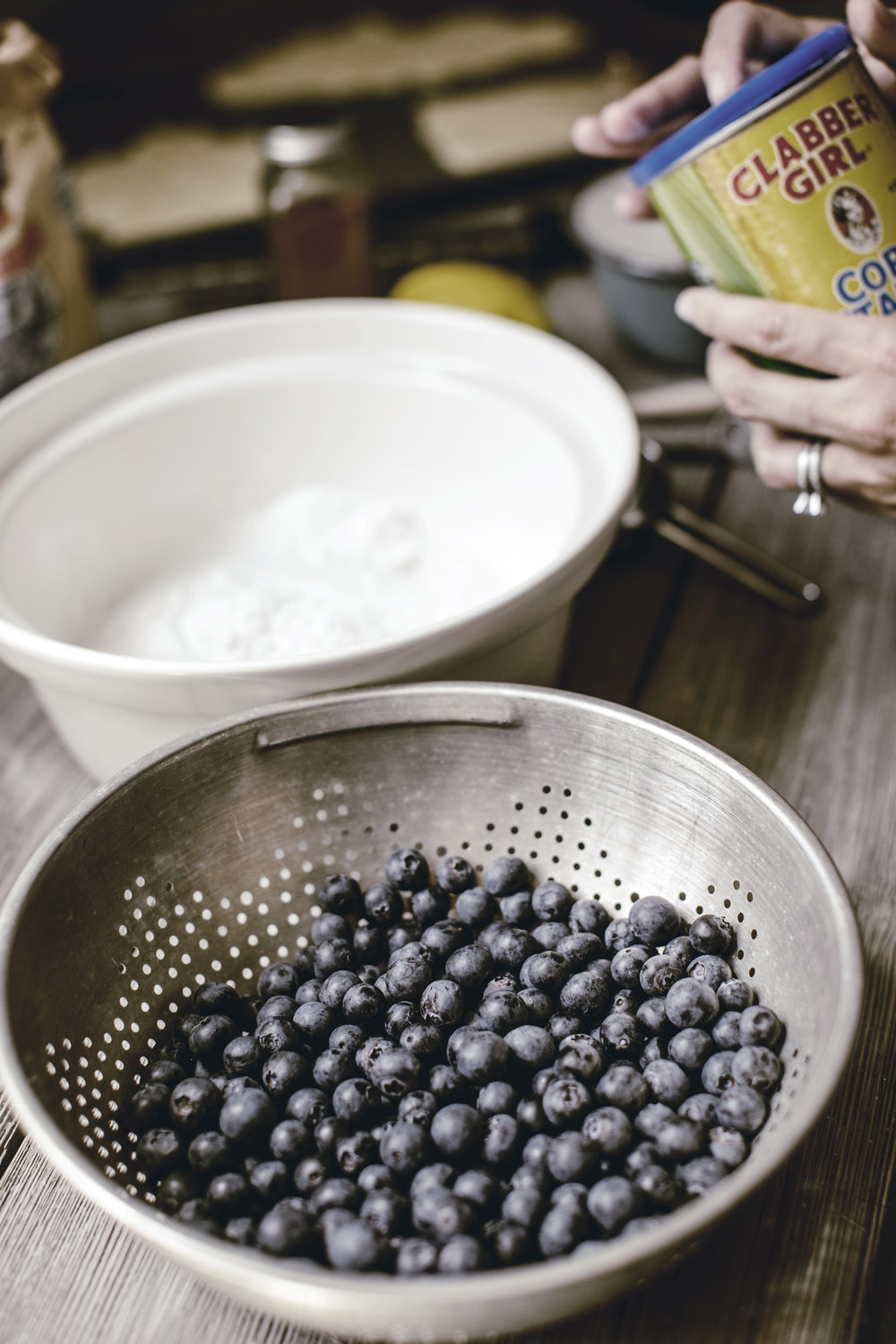 clabber girl baking powder to coat blueberries / rustic blueberry galette recipe / heirloomed