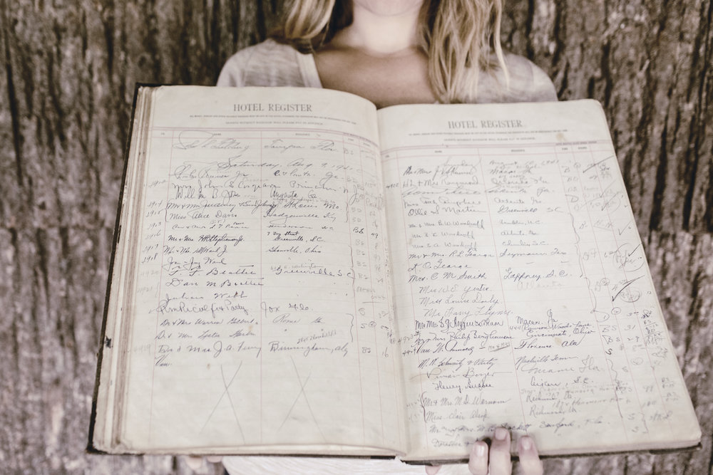 historic hotel register showing generations of hotel guests / heirloomed