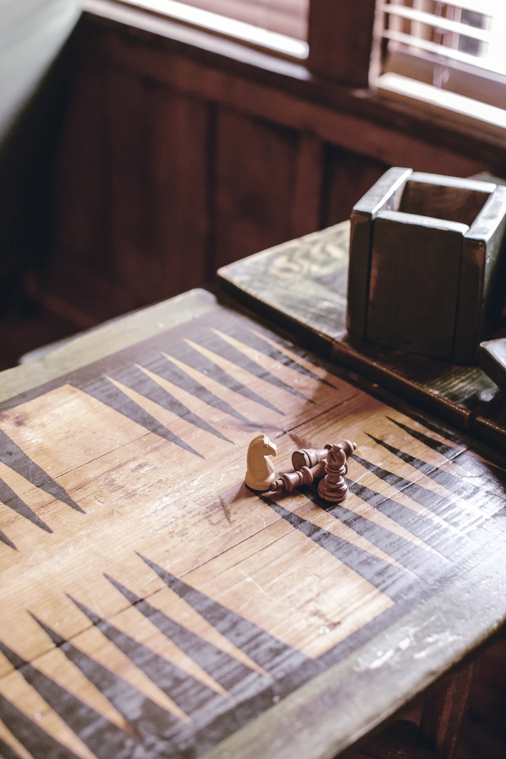 rustic board games at high Hampton inn / heirloomed