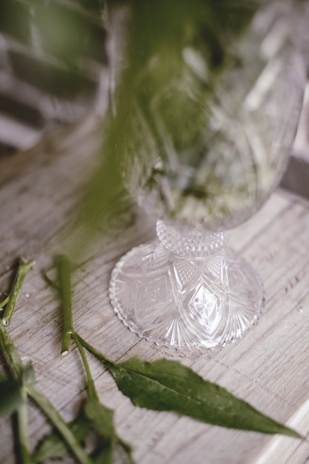 vintage crystal cut vase / heirloomed