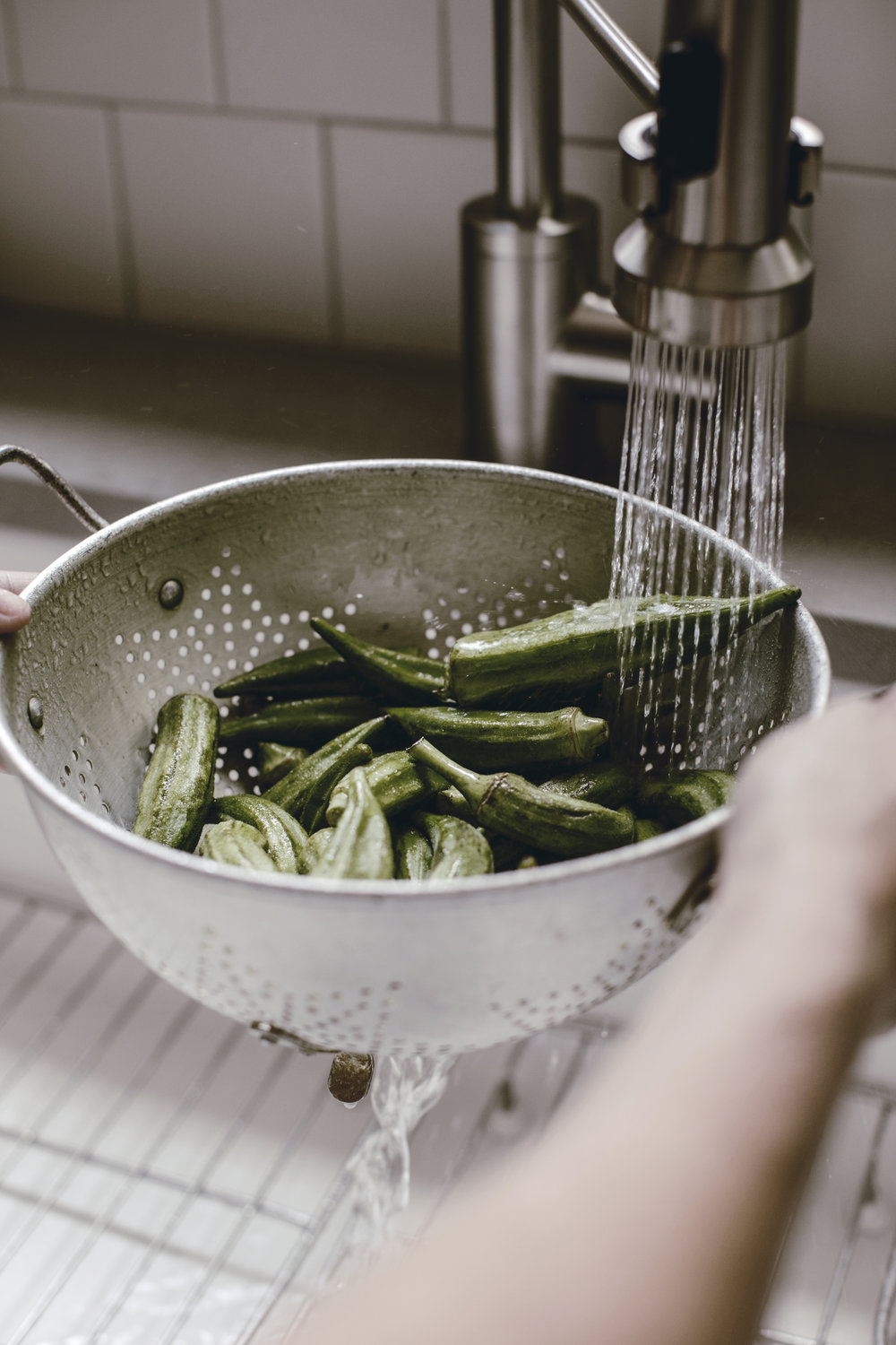 vintage colander washing fresh okra / heirloomed
