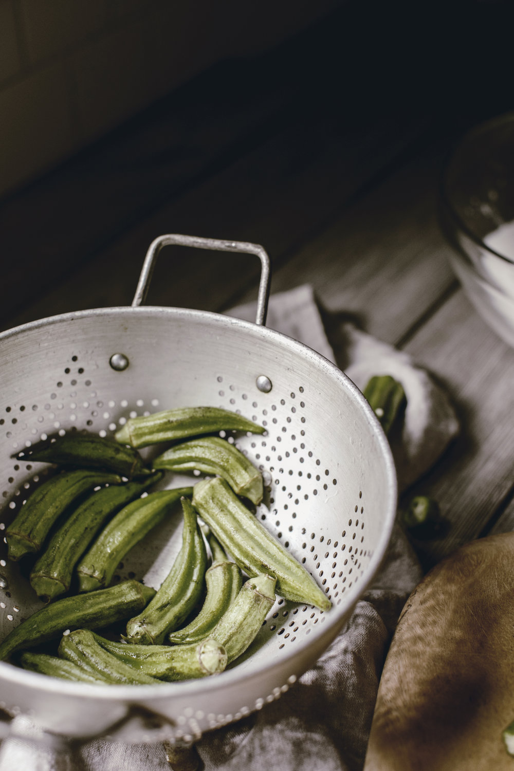 vintage colander with fresh okra / southern kitchen bucket list / heirloomed