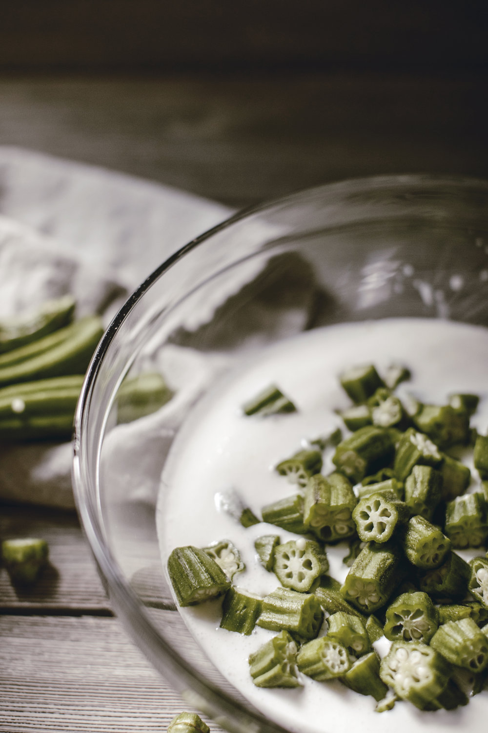 soaking okra in buttermilk / heirloomed