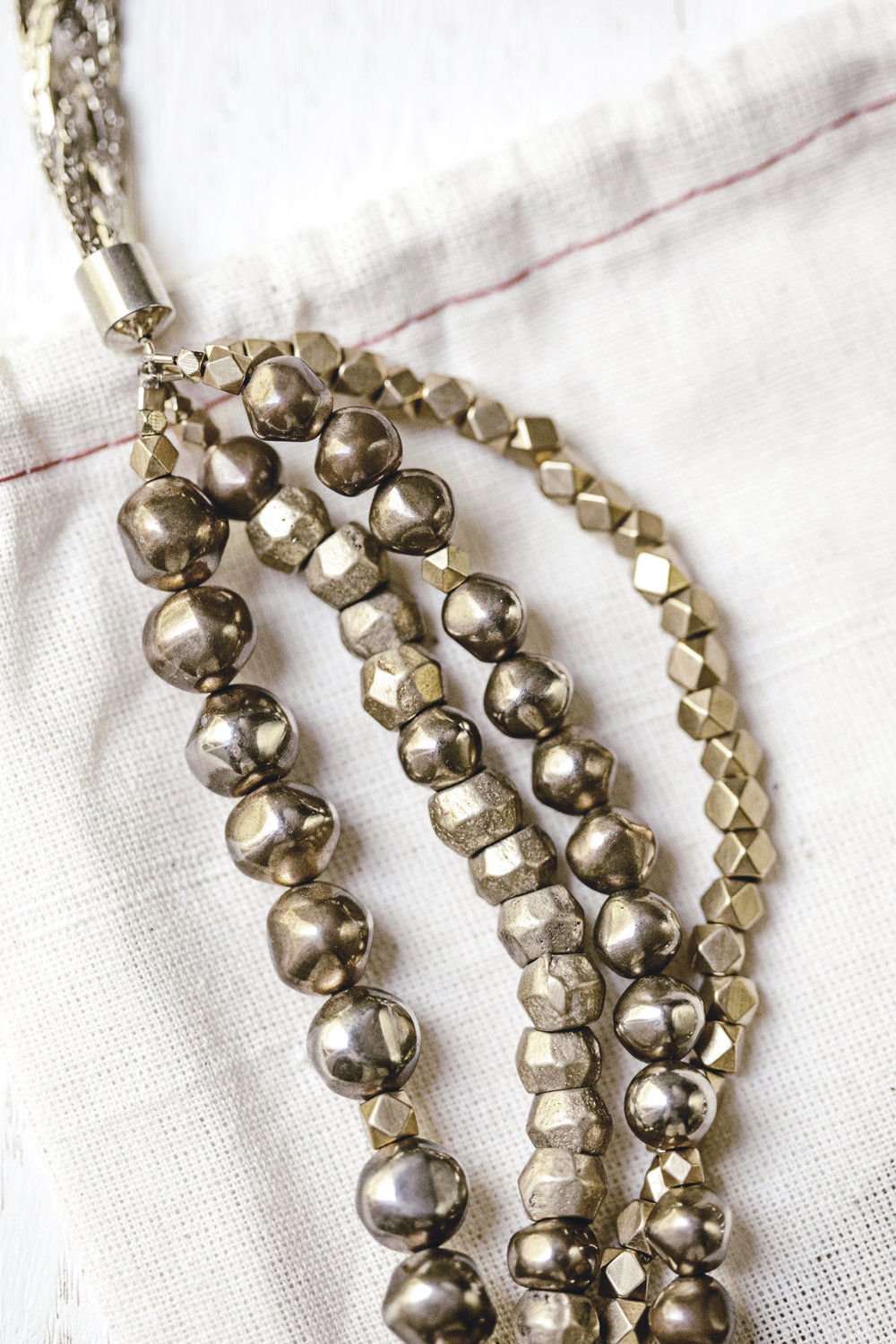 brass beads + gold necklace / heirloomed