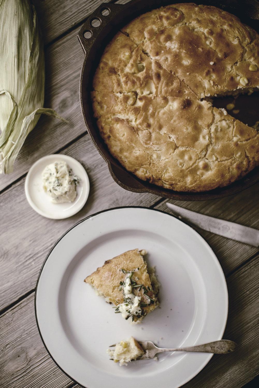 garlic herb butter recipe with skillet cornbread
