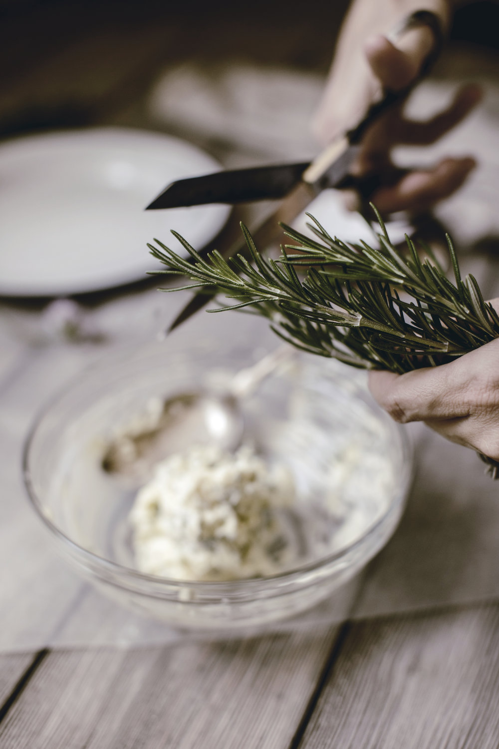 chopped rosemary for herb butter / heirloomed recipe