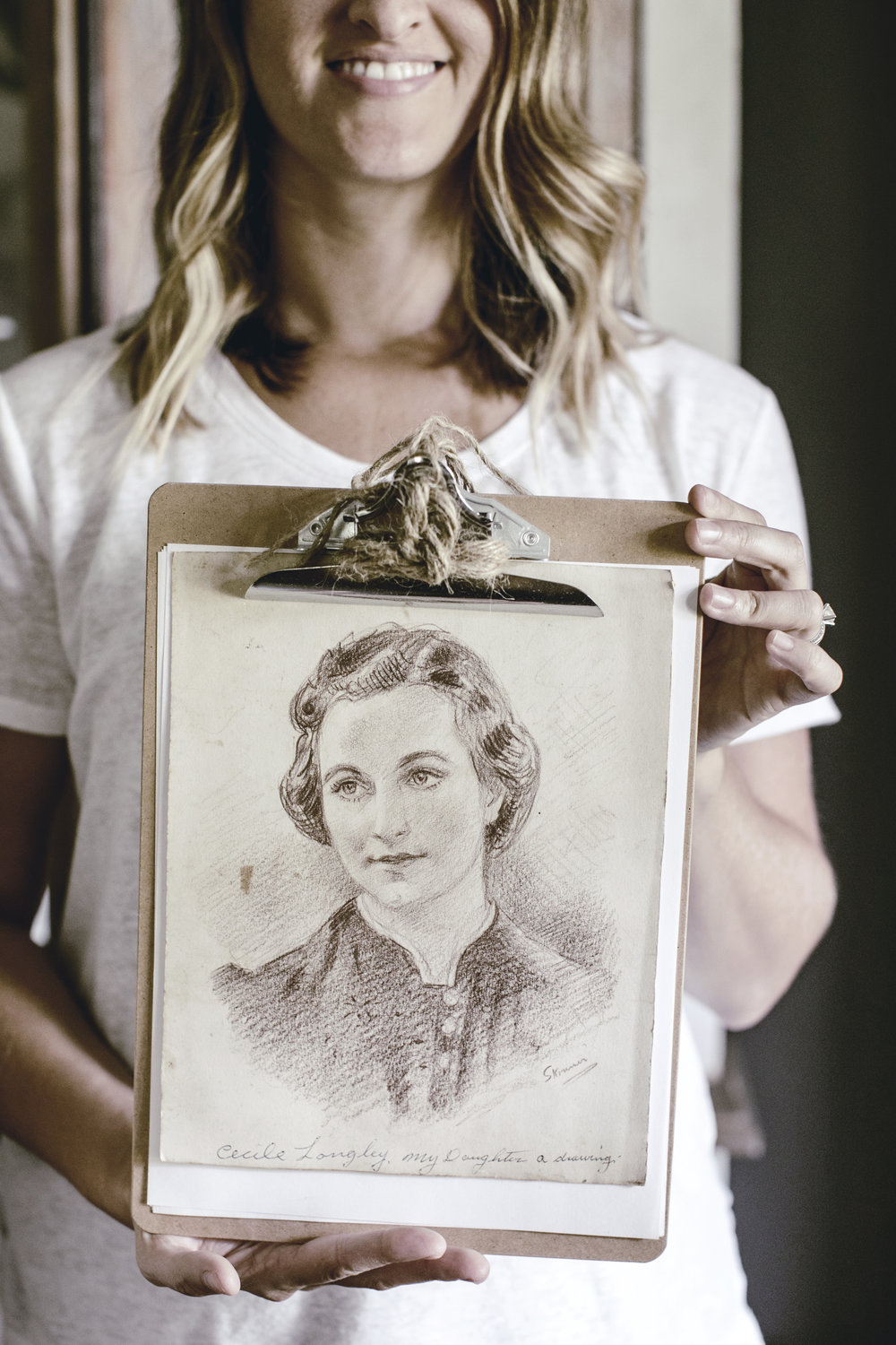 vintage red charcoal sketch of grandmother / heirloomed