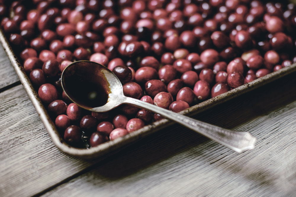 Roasted Cranberries on pan with molasses