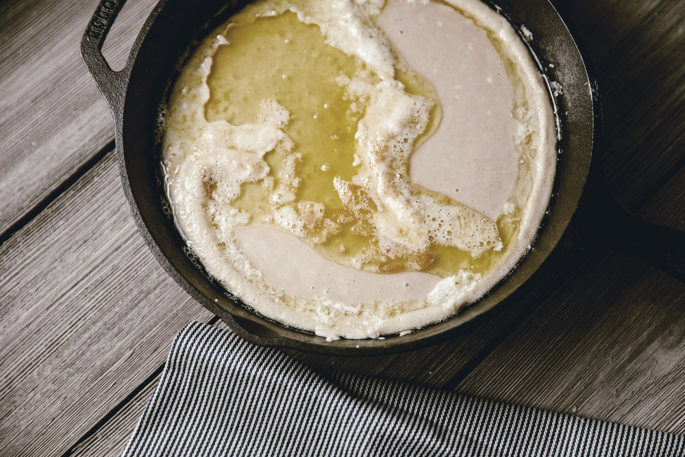 Apple Skillet Cobbler in cast iron skillet