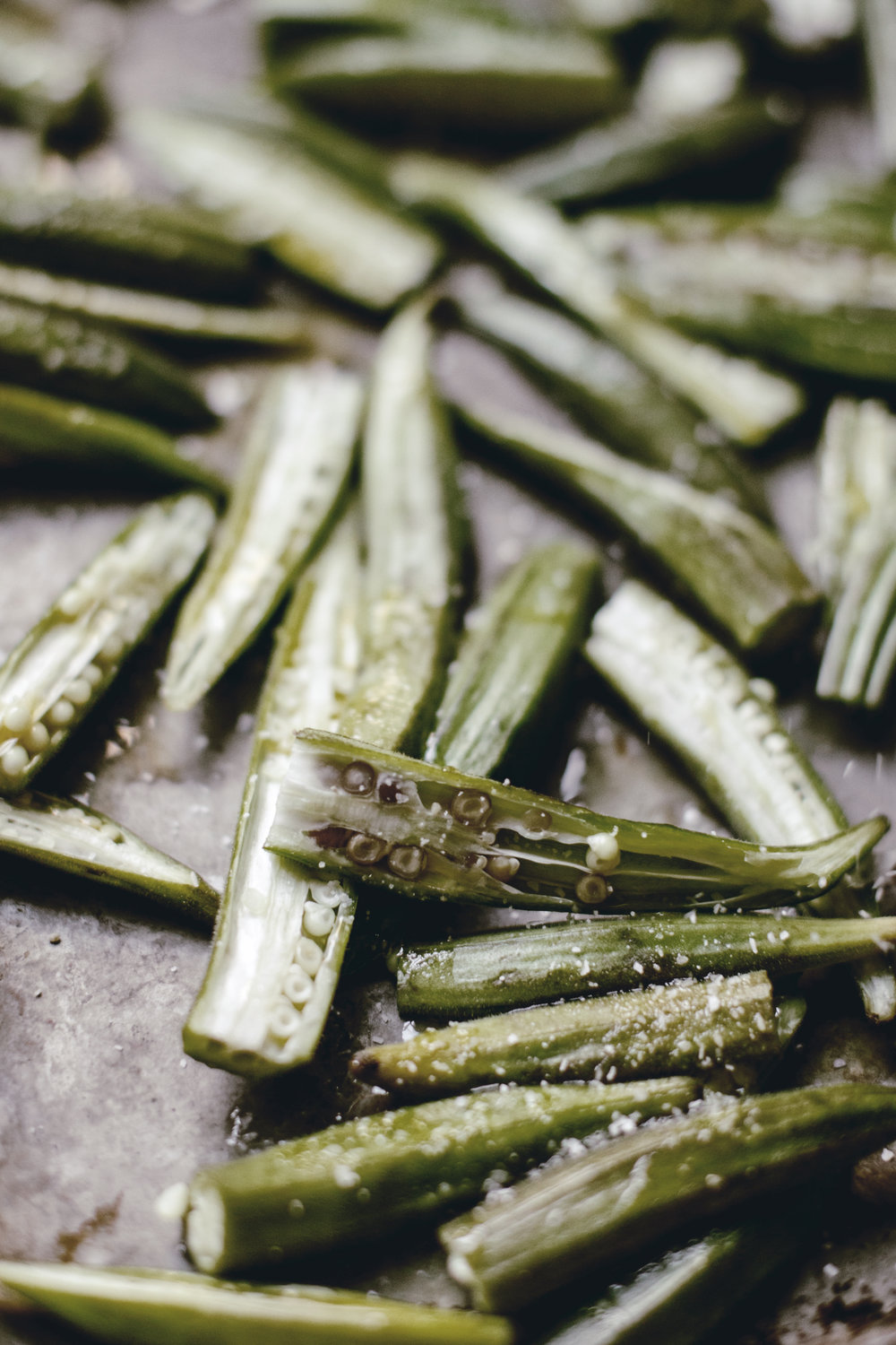 Roasted Okra salted