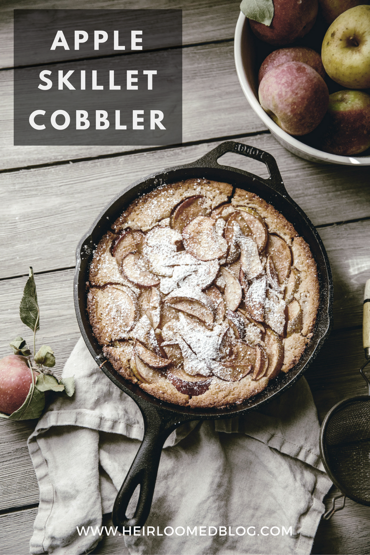 Apple Buttermilk Skillet Cobbler recipe / Brooke Bell Cast Iron Baking / heirloomed