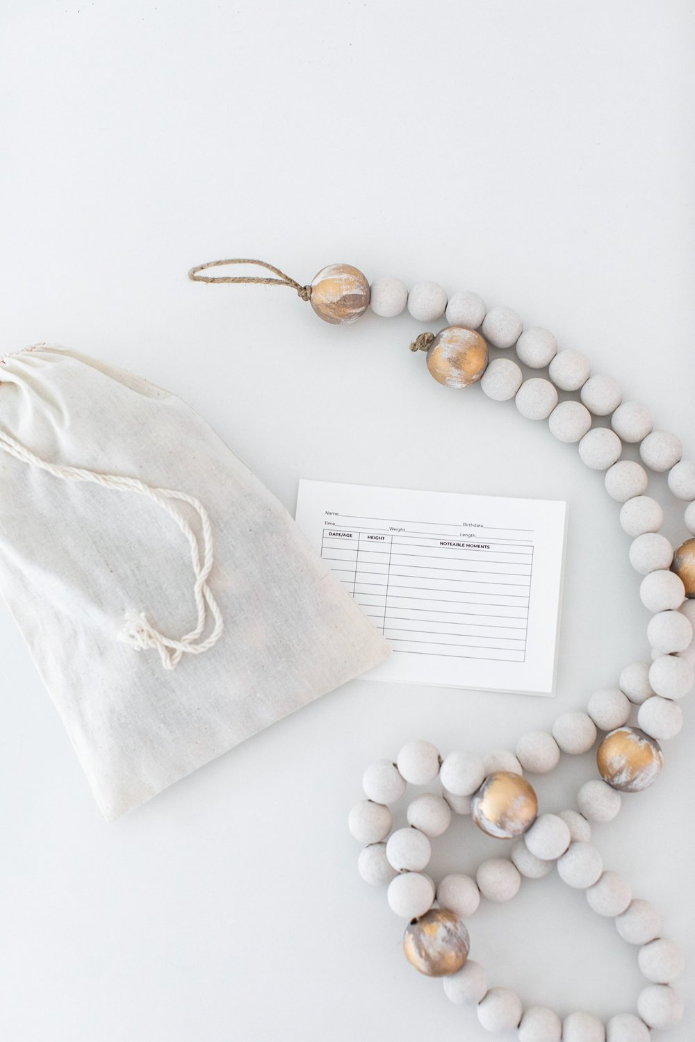 wooden bead growth chart/ heirloomed