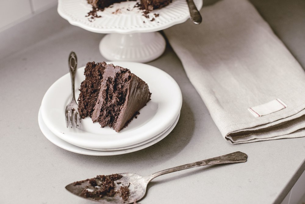slice of classic chocolate cake with homemade chocolate frosting