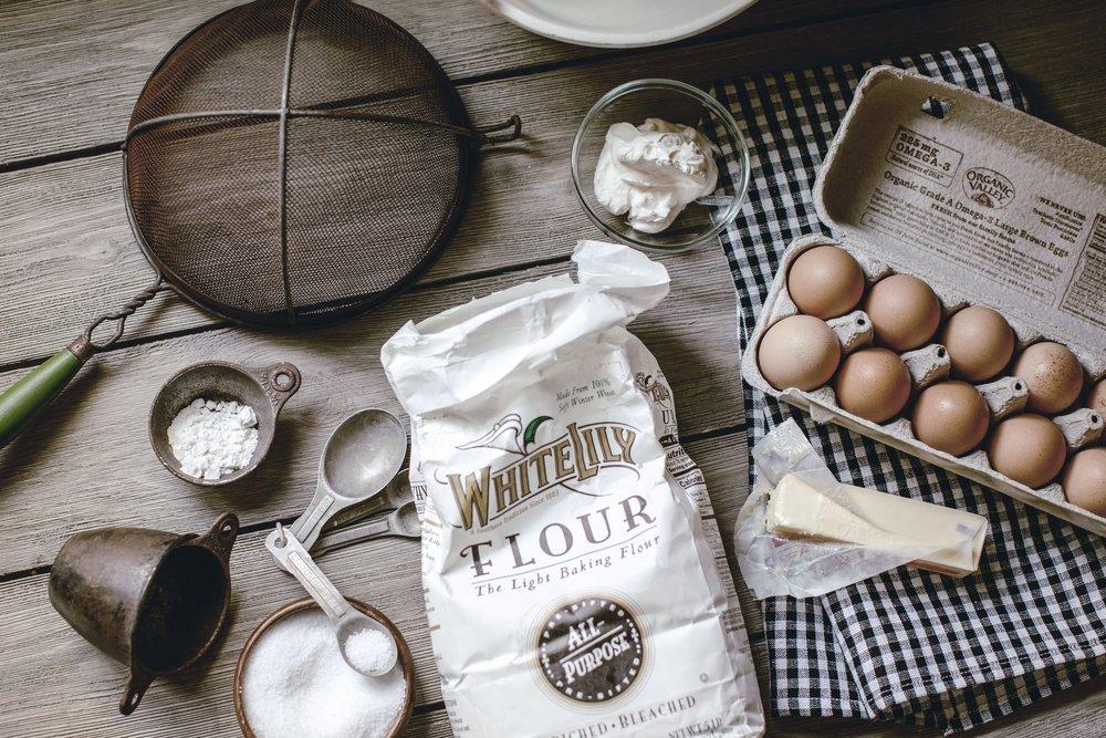 flour eggs sugar butter