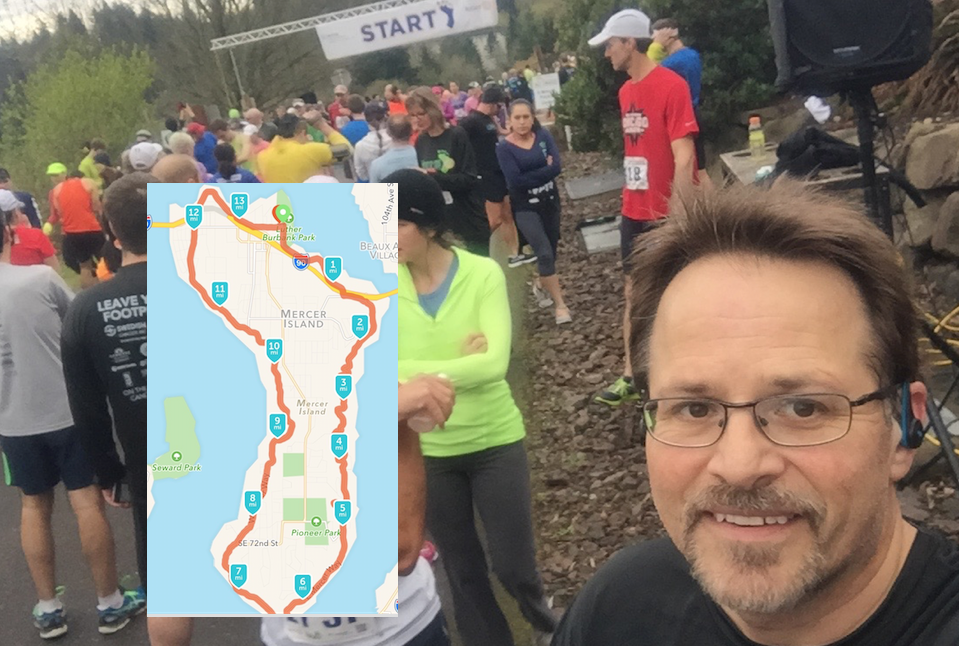This is from the start line of the 2016 Mercer Island Half Marathon. A great course to run, although it is a bit hilly! This was my second time for this race and continue to be impressed by how well it is organized and managed!