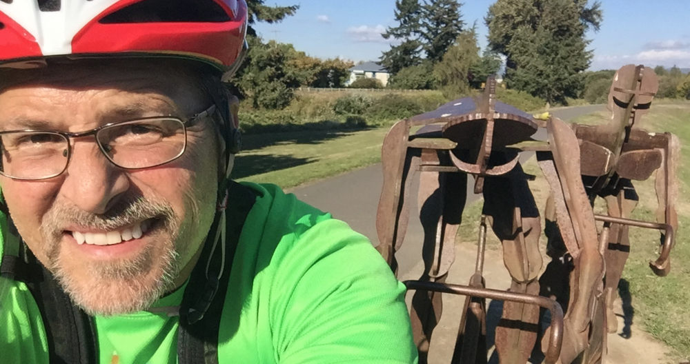 "Came across this amazing bike sculpture on the Green River Trail! Took the opportunity for a ""selfie"" that looks like I'm riding with them!"
