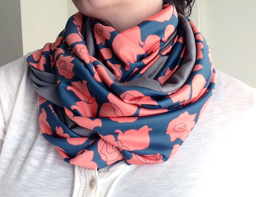 LOTV Sprawl (coral on navy) Infinity Scarf by Anna Lisa Brown