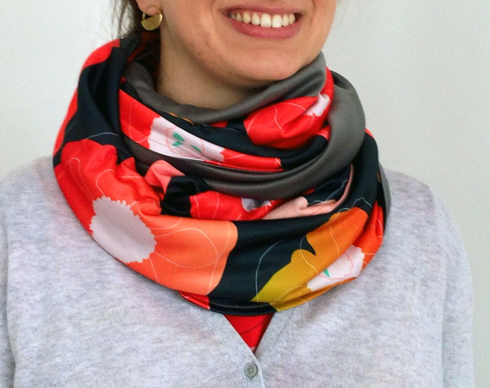 Pop Pop (coral on black) Infinity Scarf by Anna Lisa Brown