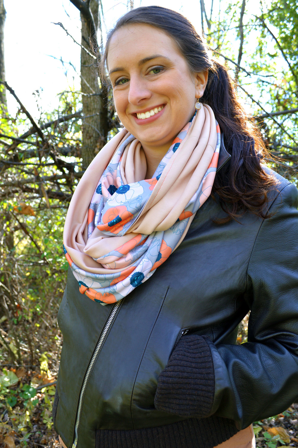 Poppy Spin (peach on gray) Infinity Scarf by Anna Lisa Brown