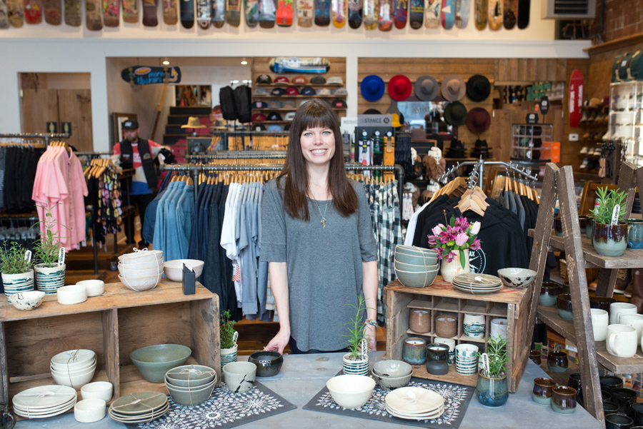 Pop-up sale at Pro Skates! Melody Hillman Ceramics was busy selling handmade pottery.