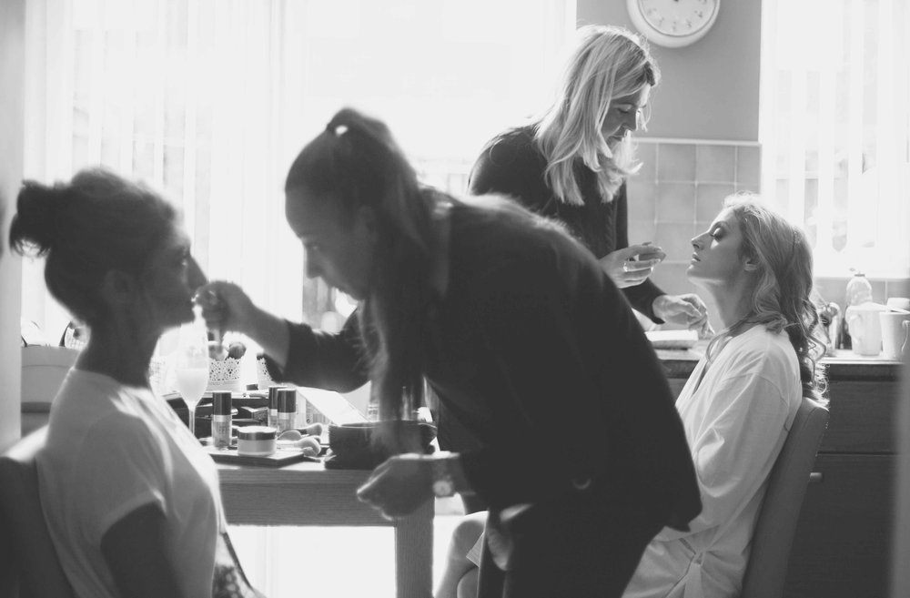 Bride and Mum getting make up done