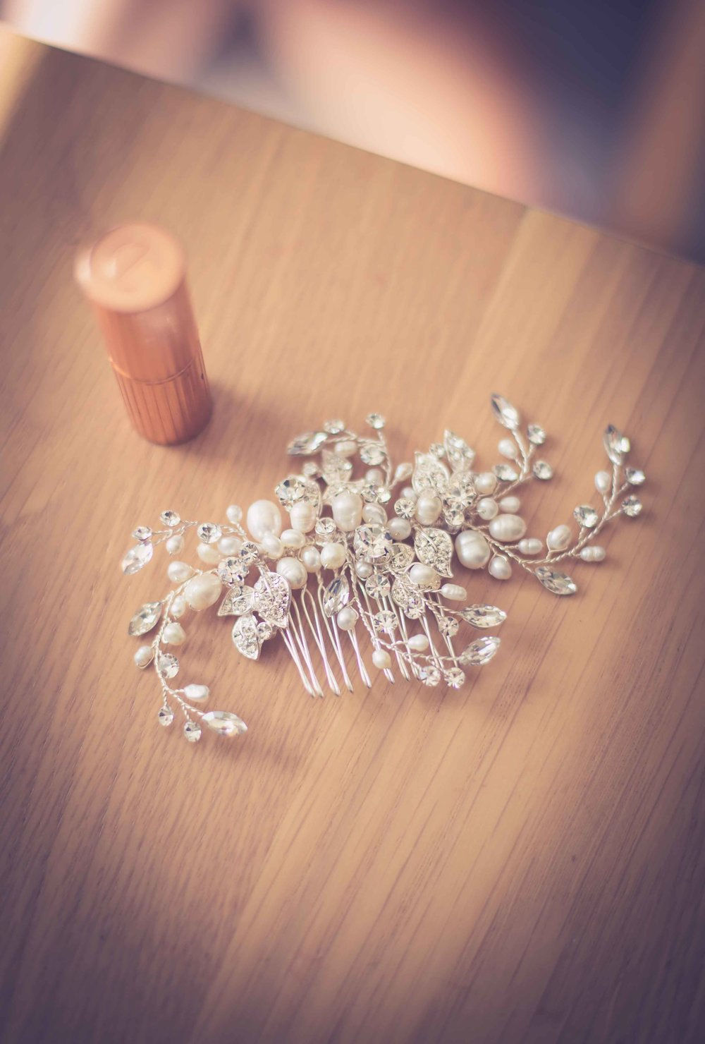 Bridal hair piece & lipstick