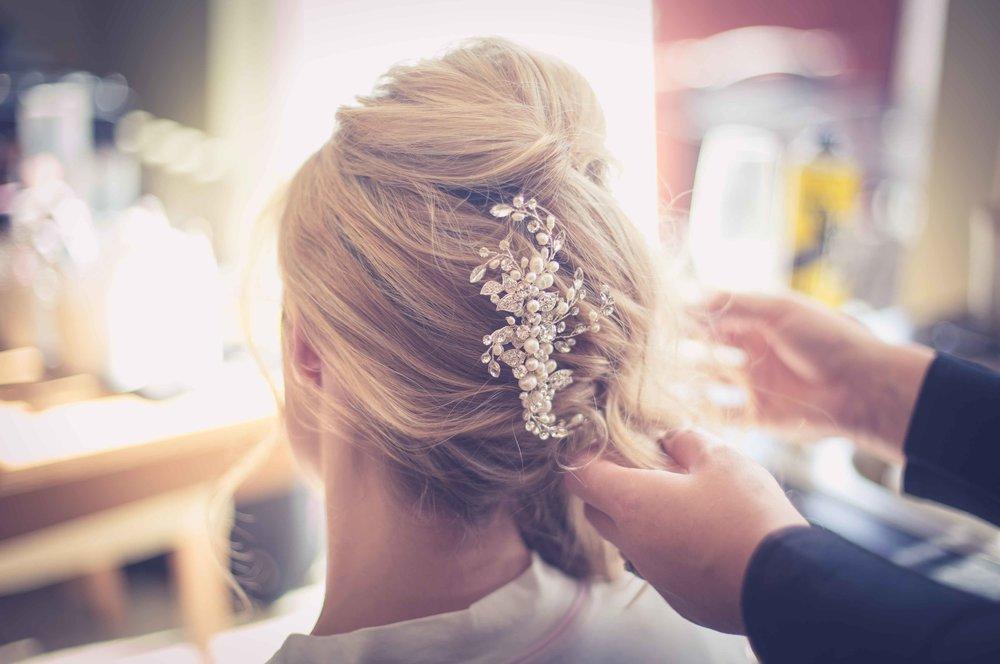 close up of brides hair